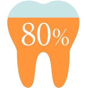 当院に来られる方の80%以上は舌側矯正(リンガルブラケット矯正法)を希望 アイコン
